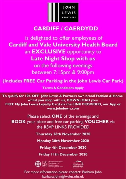 John Lewis Shopping Evenings Cardiff Vale Health Charity